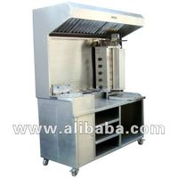 multipurpose cooking range with exhaust hood over head