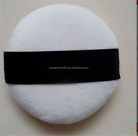 Custom Logo Cosmetic Sponge Super Soft Flocking Powder Puff with Ribbon