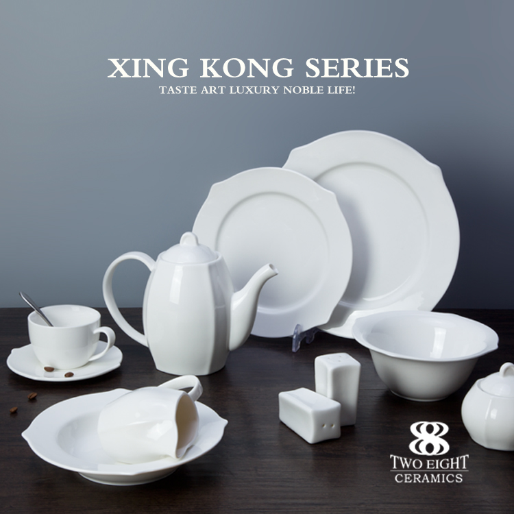 royal bone china , porcelain crockery set , luxury dinner set for banquet wedding party