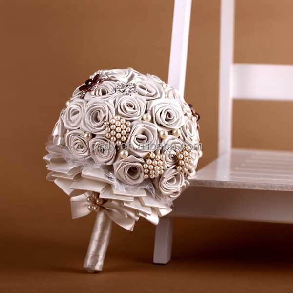 High quality stain ribbon white rose wedding bridal bouquet ...