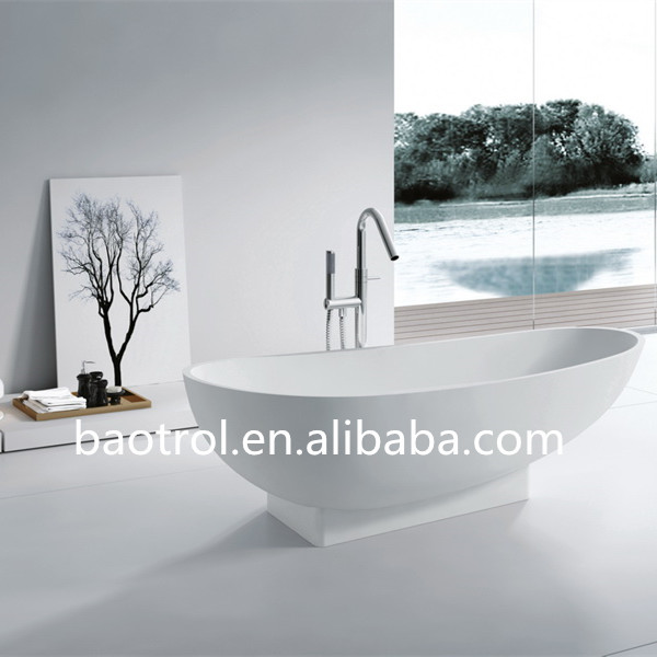 Eco-friendly easy clean oval modified solid surface bathtub