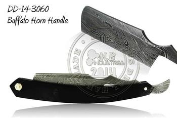 Damascus Steel Straight Razor Buffalo Horn Handle DD-14-3060