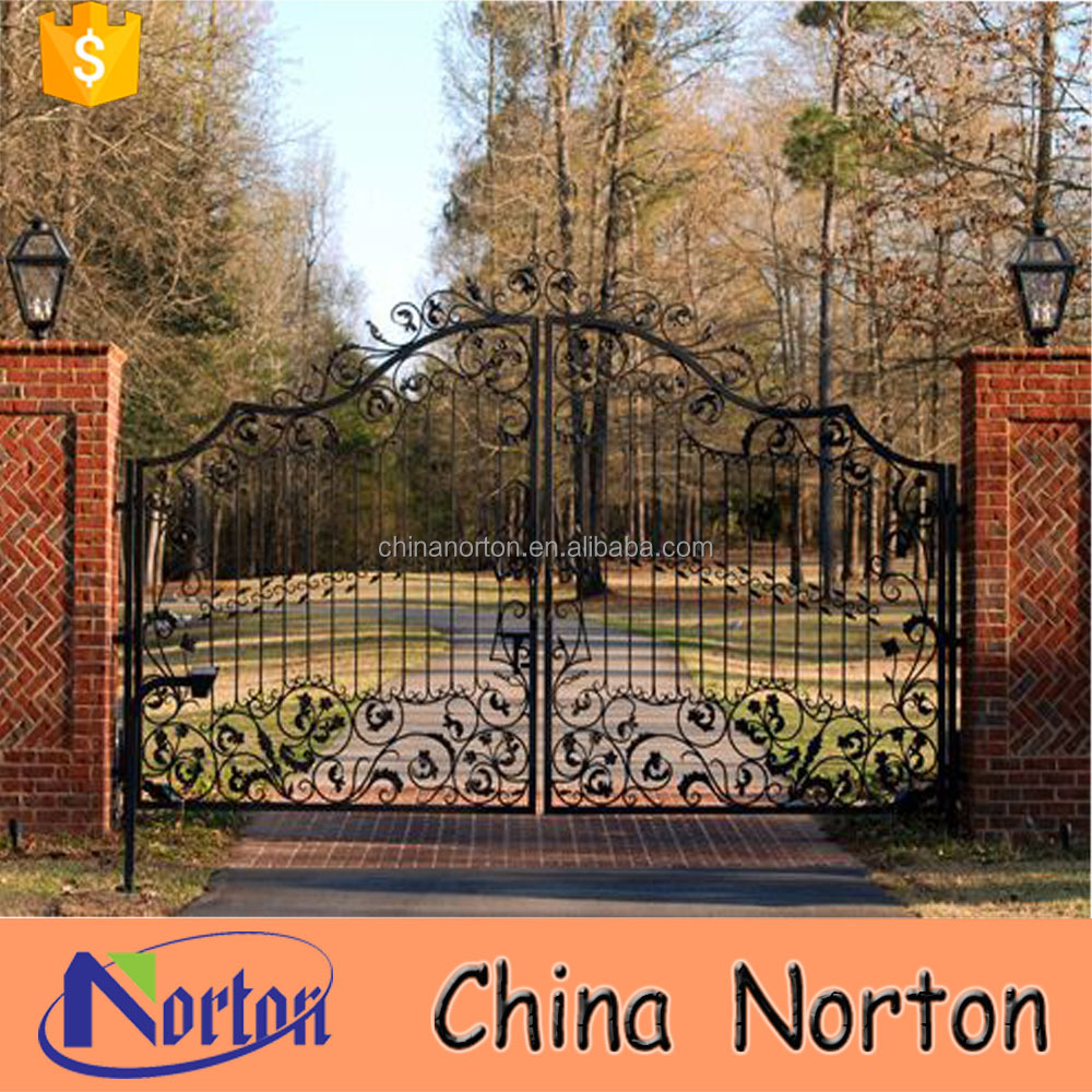 Antique wrought iron sliding house gate designs for sale NT--WIA068