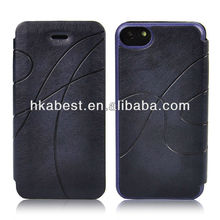 PU Leather Flip Cover For iPhone 5C,Embossed Leather Case For iPhone 5C