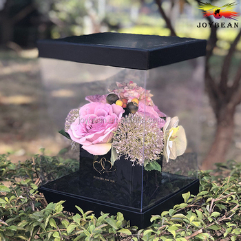 Wholesale Clear Plastic Preserved Bouquet Square Shipping Gift Paper Cardboard Packaging Luxury Flower Box