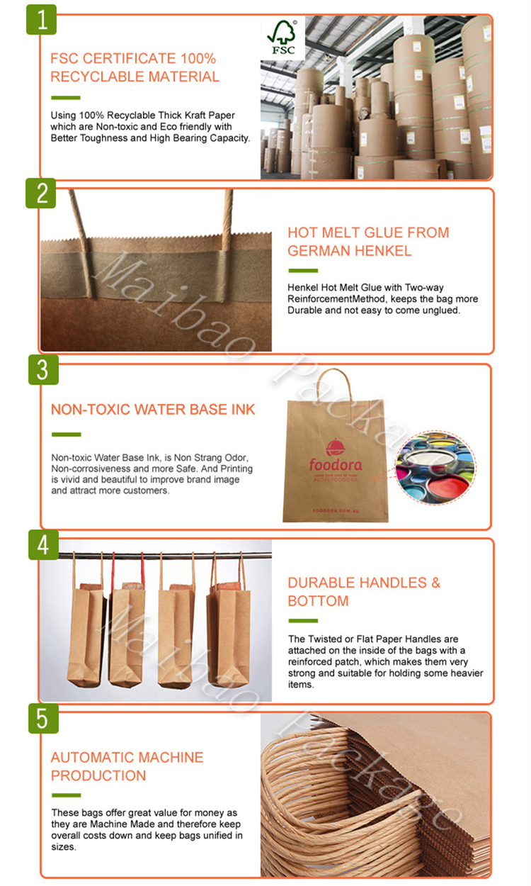 Wholesale Recycled Custom Printed Grocery Food Take Away Shopping Brown Kraft Paper Bag With Twisted Handles