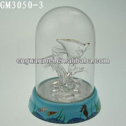 LED decorative glass fish craft inside dome for easter