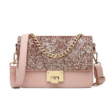 JUNYUAN 2019 New Women's <strong>Tote</strong> <strong>Bag</strong> Fashion Sequined Small Square Lady PU Fashion Hand <strong>bag</strong>