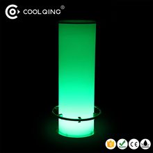 Plastic glowing glass and iron stand led round table