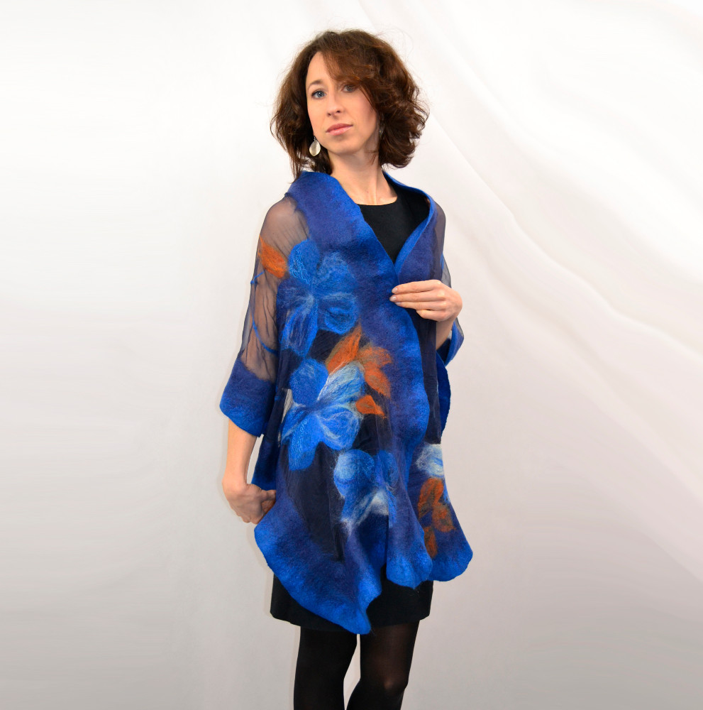 Wearable art, High fashion, Handmade clothes, Unique design Silk Shawl, Nuno felted with merino wool