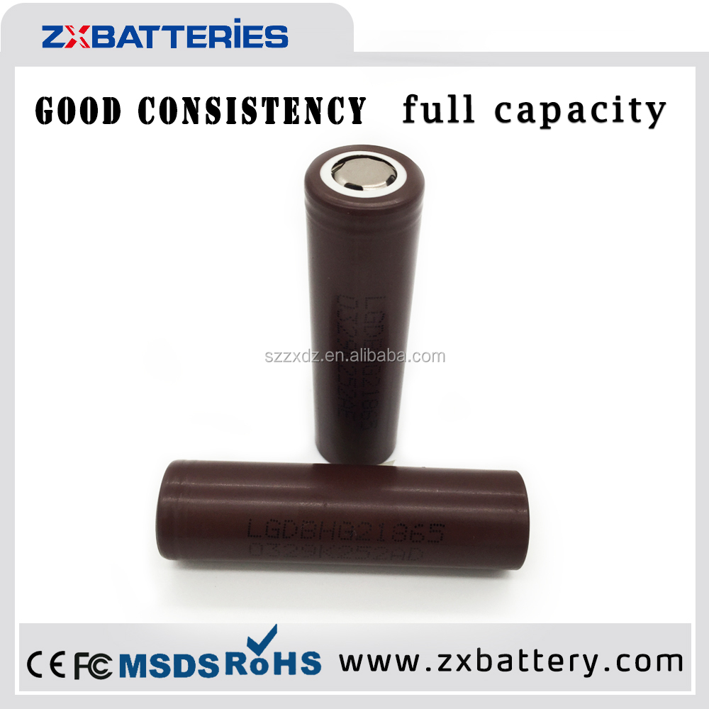Factory price 18650 li ion battery LG HG2 3000mAh 3.7V rechargeable battery for electric bike