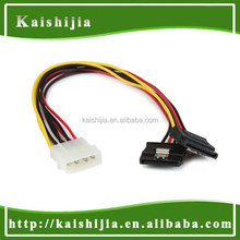 SATA 15P Power Cable with Latch, Molex 4P to 2 SATA 15Pin Y Splitter Cable