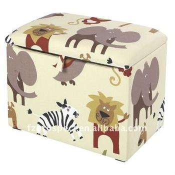 boys fabric covered storage stool animal printing storage