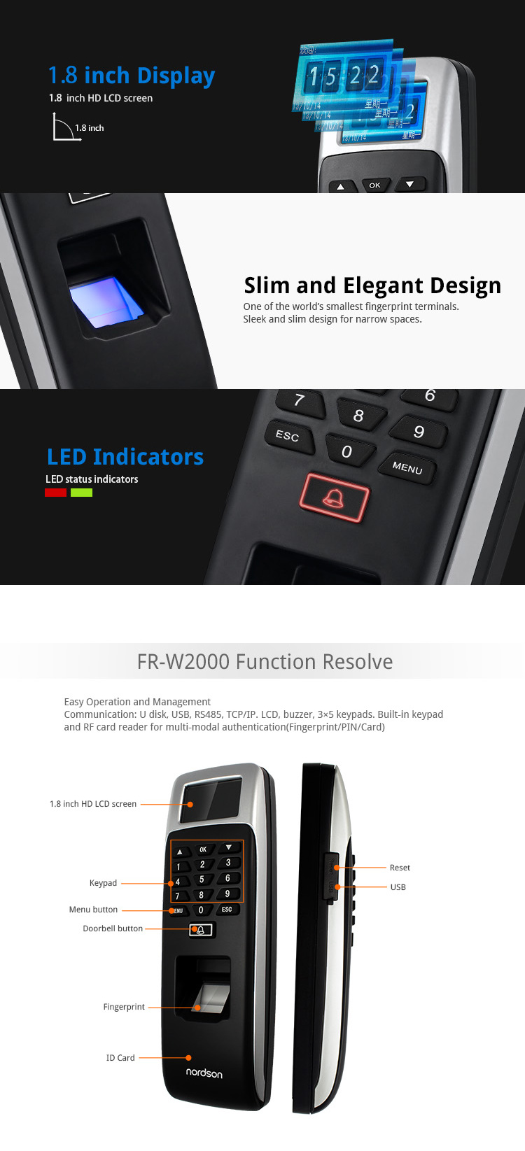 Waterproof Network Biometric Fingerprint time attendance system Biometric Fingerprint Access Control System