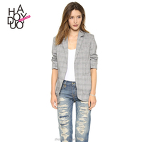 HAODUOYI Women Garments Checked OL Style Jacket Unique Design Blazer for wholesale