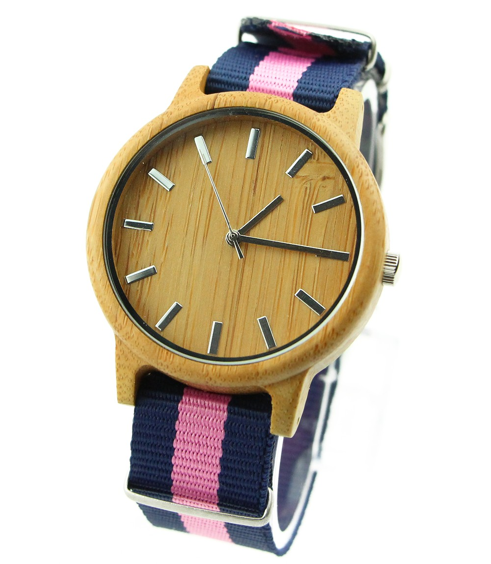 2017 Nylon belt Wood Case Pictures Of Fashion Girls Watches Girl Latest Hand Watch