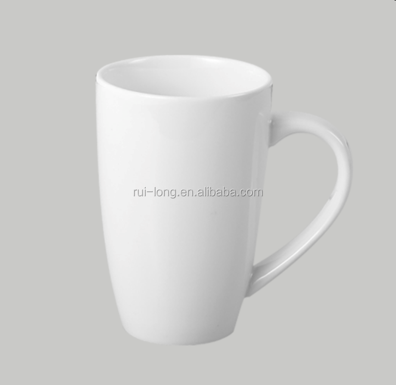 wholesale ceramic white 350ml cylindrical tall coffee mug with handle