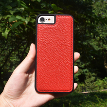 Luxury full grain litchi leather leather cell phone case