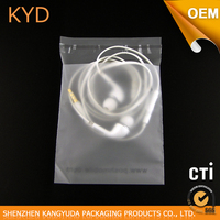 Soft Plastic Earphone Packing CPE Bag With Self Adhesive
