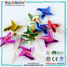 2016 Wholesale PET party decorative small toys windmill with stick for kids