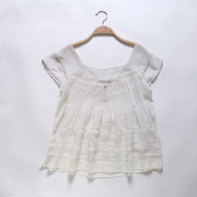 Chinese Collar Cap Sleeve Models Laced Chiffon sexy Blouse