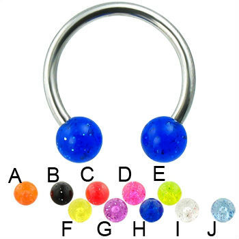 glitter ball titanium horseshoe barbell piercing jewelry