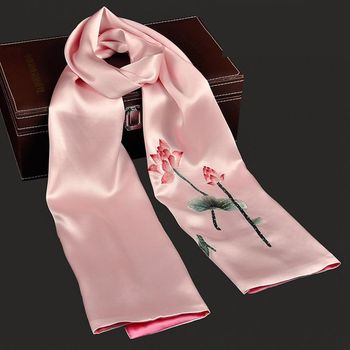 Summer 2017 trends luxury good quality hand embroidery floral 100% silk scarf long scarf shawl
