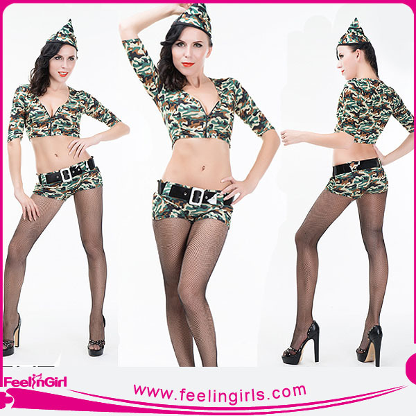 4PC Fancy Women Military Costume Military Hat