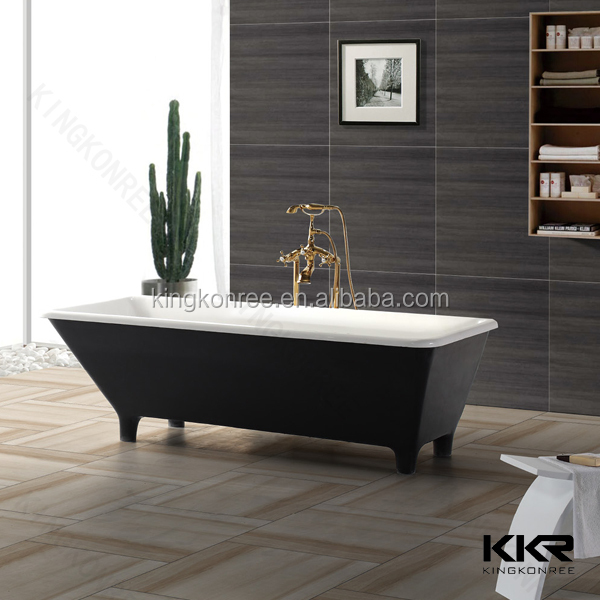 Stone Resin Classic Black Freestanding Bath With Four Legs