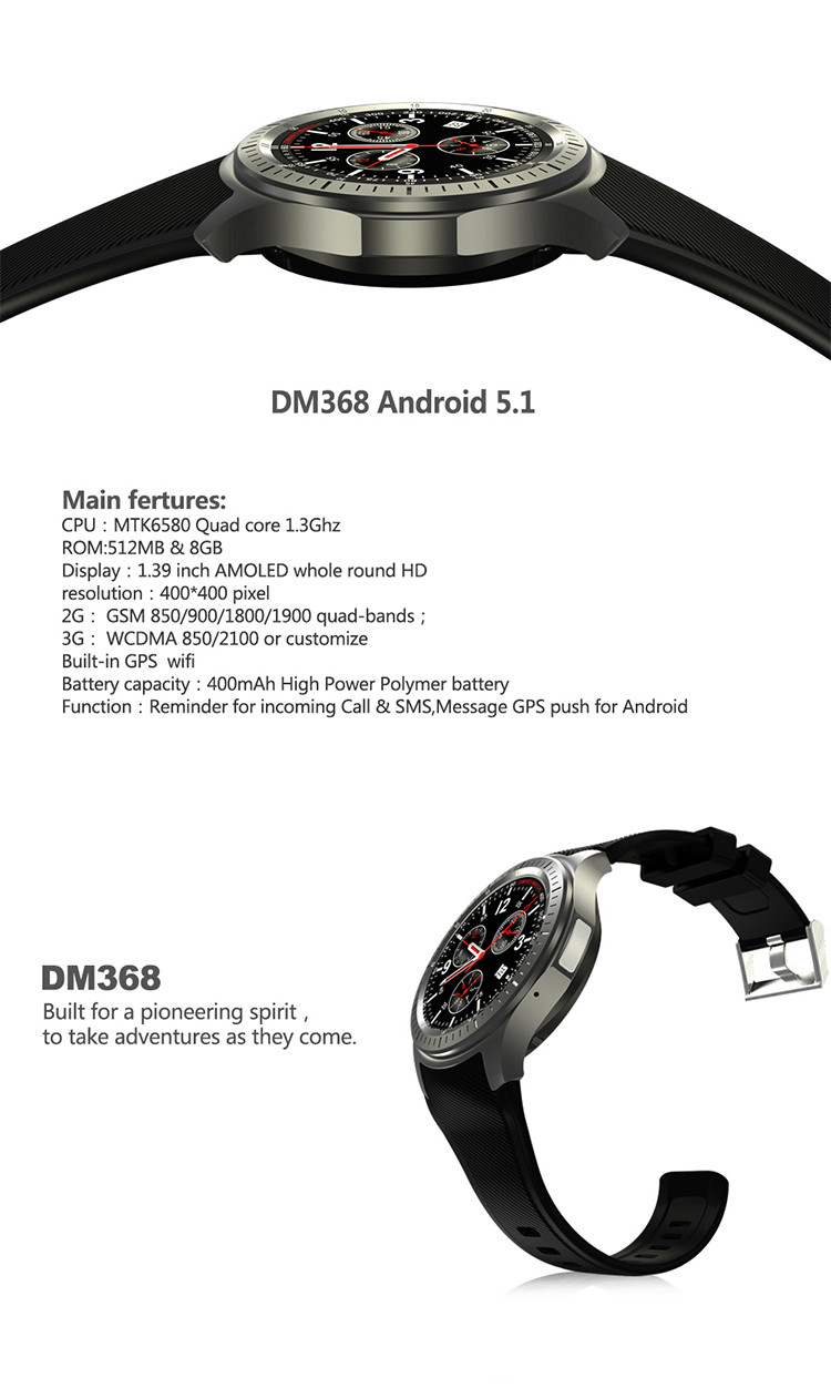 DM368 smart watch sim WCDMA 3G AMOLED hd screen MTK6580 quad core android 5.1 OS quad core CPU 3g wcdma smart watch