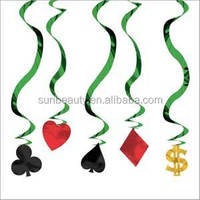 Paper flower swirl playing cards hanging paper decorations
