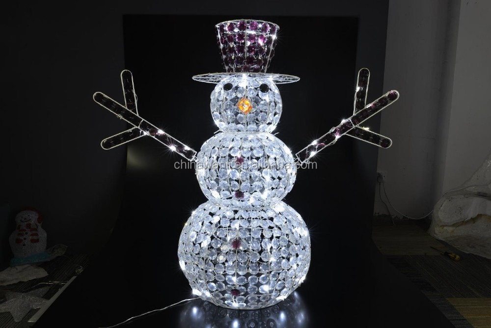 crystal beads snow man led light