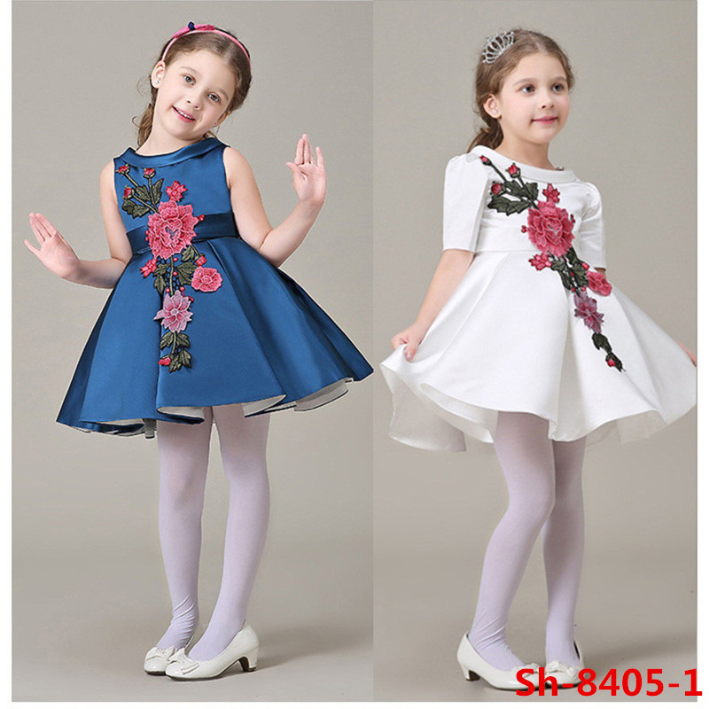 New fashion frocks designs hand embroidery designs for baby dress girls clothing 4~12 years kids