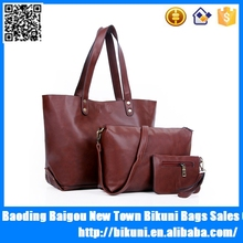 New arrival fashion 3 pieces in 1 set winter style wholesale office ladies shoulder handbag