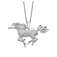 Solid 925 Sterling Silver Horse Pendant Necklace