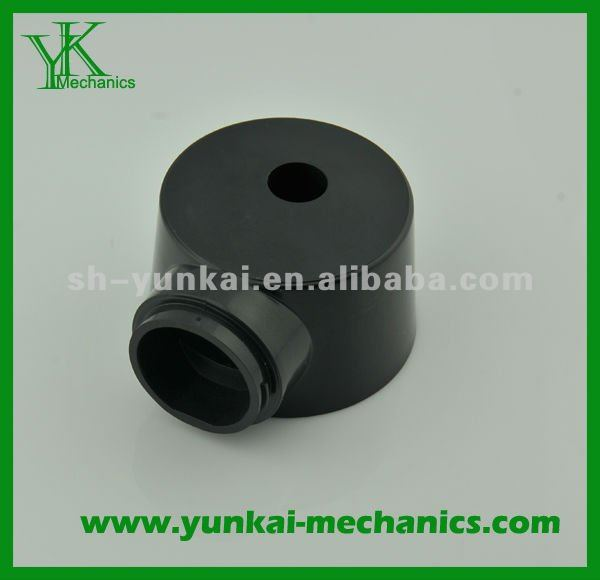 Precision CNC turning part, black anodizing, tube connector