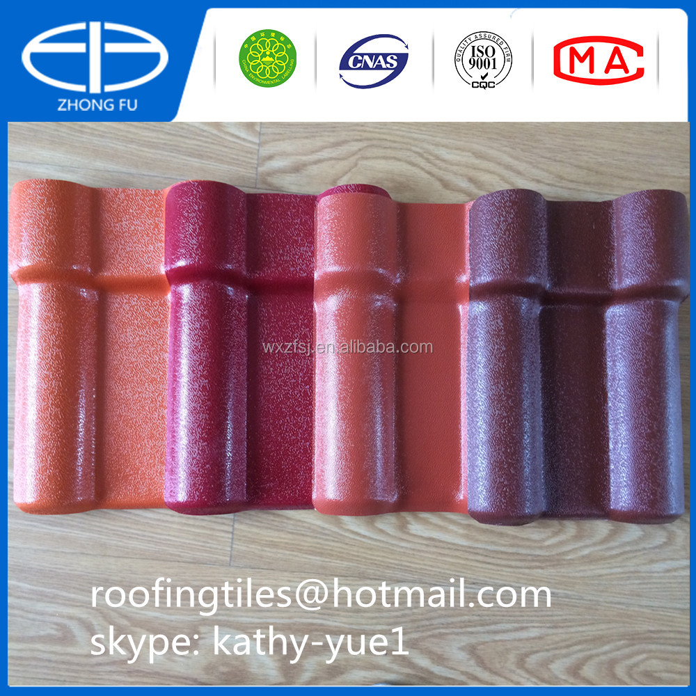 Purplish red oranges asa pvc roof tile synthetic resin roof sheet for building material for roof