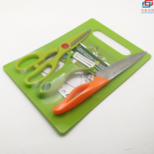 Plastic Cutting board set with peeler knife and scissors for Kitchen food processing