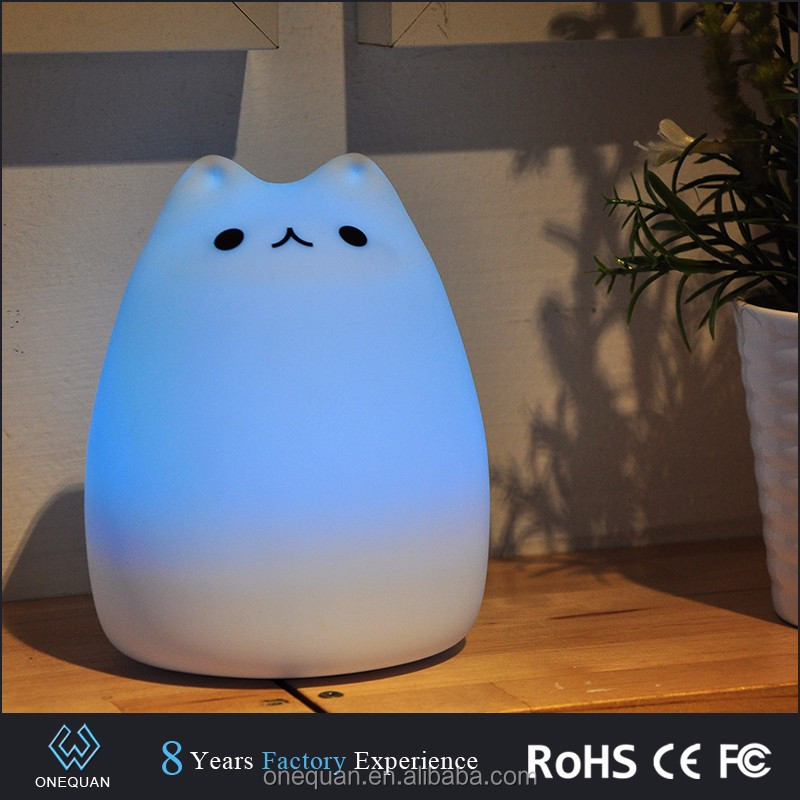 Cute LED children night light multicolor silicone soft baby nursery lamp portable silicone nursery night