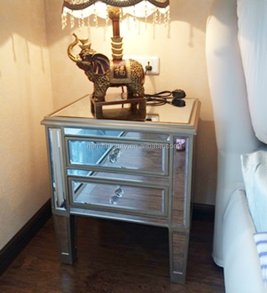 Hot sale mirrored bedside table with crystal pull handle