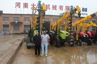 tractor mounted solar poles erection machine