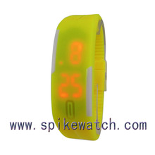 Orange color touch led wristwatch cool waterproof watches lady