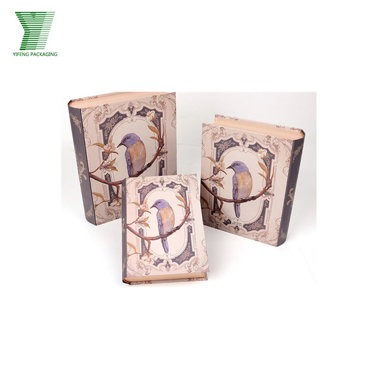 Fashion Packaging custom printed shape fake book storage gift box paper