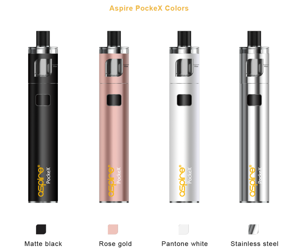 2017 Newest aspire vape pen 1500mah Aspire PockeX rose gold black white silver in Stock