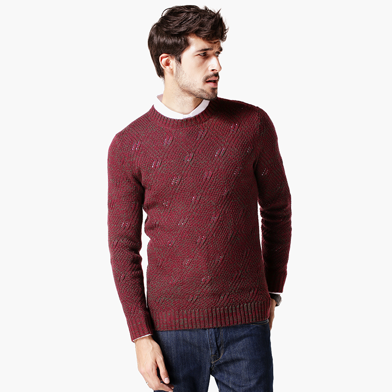 Retro - 2015 winter sweater male European style New Mens Casual knit turtleneck sweater jacquard