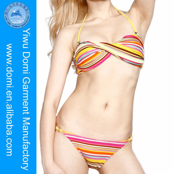 Sexy rainbow gold blocking stripe bikini women sexy animal com,fashion twist bandeau bikini teen micro bikini