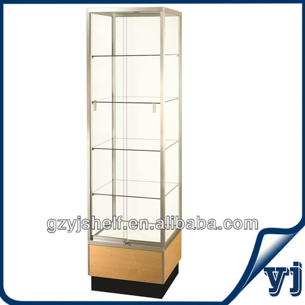 2014 Best Seller Wholesale Sliding Wall Glass Display Case/Glass Luxury Golden Vitrine