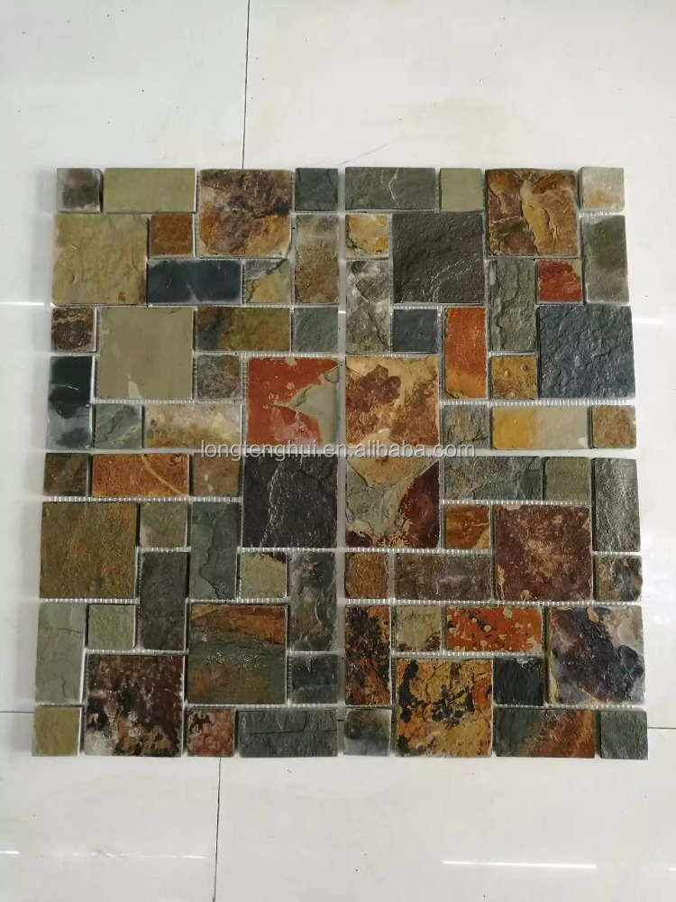 swimming pool tiles natural slate stone mosaic wall decoration