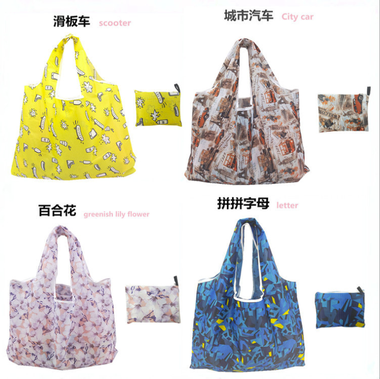 Custom Design Large Capacity Polyester Foldable Reusable Tote Shopping Bag Handbags with Different Pattern