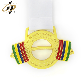 Promotional custom gold metal weightlifting medal with enamel logo